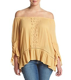 Democracy Plus Size Off The Shoulder Flounce Top