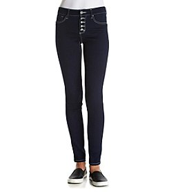 Crave Fame® Exposed Button Five Pocket Skinny Jeans
