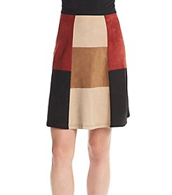 Cupio Color Block Faux Suede Skirt