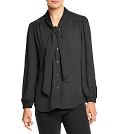 Cupio Tie Neck Button Front Top