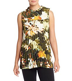 Cupio Printed Accordion Pleat Top