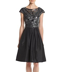 Calvin Klein Sequin Top Taffeta Party Dress