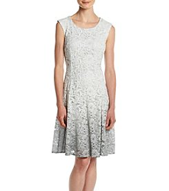 Chetta B. Ombre Metallic Lace Dress