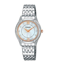 Pulsar® Women's Night Out Silvertone with Mother of Pearl Dial and Swarovski® Crystal Accents Watch