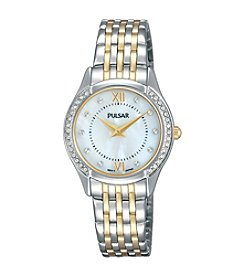 Pulsar® Women's Night Out Two-Tone with Mother of Pearl Dial and Swarovski® Crystal Accents Watch