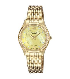 Pulsar® Women's Night Out Goldtone with Mother of Pearl Dial and Swarovski® Crystal Accents Watch
