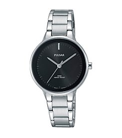 Pulsar® Women's Easy Style Collection Silvertone Watch with Black Dial and Bezel