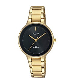 Pulsar® Women's Easy Style Collection Goldtone Watch with Black Dial and Bezel
