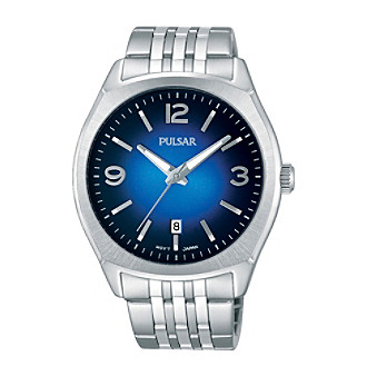 Pulsar® Men's Traditional Silvertone Watch with Blue Dial