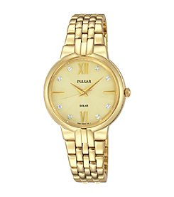 Pulsar® Women's Night Out Solar Goldtone Watch with Swarovski® Crystal Accents