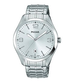 Pulsar® Men's Traditional Expansion Silvertone Watch with Silver Dial