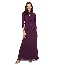 Alex Evenings® Long Dress with Modern Jacket