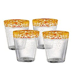 Artland® Mingle Set of 4 Yellow Double Old Fashioned Glasses