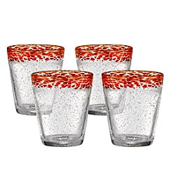 Artland® Mingle Set of 4 Red Double Old Fashioned Glasses