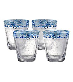 Artland® Mingle Set of 4 Turquoise Double Old Fashion Glasses