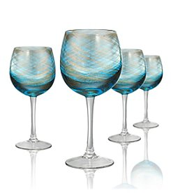 Artland® Misty Set of 4 Aqua Goblets