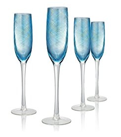 Artland® Misty Set of 4 Aqua Champagne Flutes