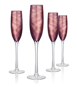 Artland® Misty Set of 4 Purple Champagne Flutes