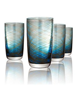 Artland® Misty Set of 4 Aqua Highball Glasses