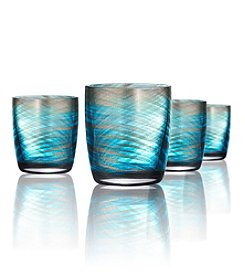 Artland® Misty Set of 4 Aqua Double Old Fashion Glasses