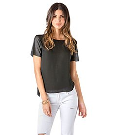 Standards & Practices Perforated Short Sleeve Chiffon Top