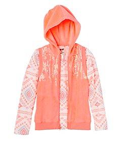 Belle du Jour Girls' 7-16 Long Sleeve Tee With Hooded Sequin Vest