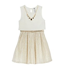 Beautees Girls' 7-16 Popover Lace Skater Dress