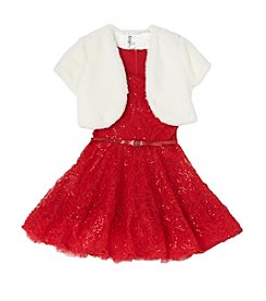 Beautees Girls' 7-16 Belted Lace Dress With Shrug