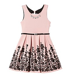 Beautees Girls' 7-16 Scuba Fit And Flare Dress With Necklace