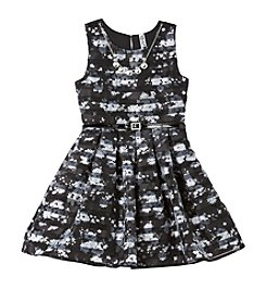 Beautees Girls' 7-16 Floral Striped Fit And Flare Dress