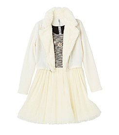 Beautees Girls' 7-16 Ballerina Dress With Moto Jacket