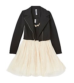 Beautees Girls' 7-16 Shimmer Ballerina Dress With Moto Jacket