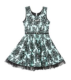 Beautees Girls' 7-16 Floral Fit and Flare Dress
