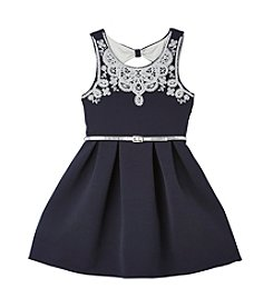 Beautees Girls' 7-16 Caviar Glitter Fit and Flare Dress