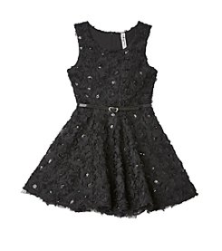 Beautees Girls' 7-16 Sequin Soutache Fit and Flare Dress