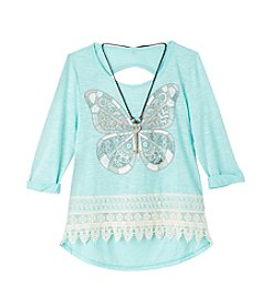 Beautees Girls' 7-16 Long Sleeve Butterfly Crochet Hem Tee