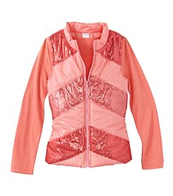 Belle du Jour Girls' 7-16 Long Sleeve Tee with Sequin Puffer Vest