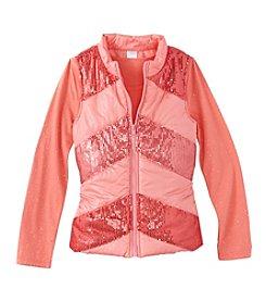 Belle du Jour Girls' 7-16 Long Sleeve Tee with Sequin Puffer Vest