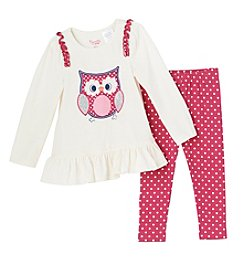 Nannette® Girls' 2T-4T 2-Piece Owl Tunic And Leggings Set