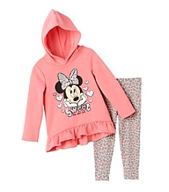 Disney® Girls' 2T-6X 2-Piece Minnie Mouse® Hoodie And Leopard Leggings Set
