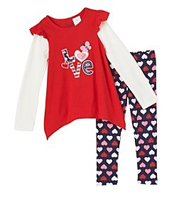 Nannette® Girls' 2T-6X 2-Piece Love Tunic and Leggings Set