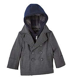 London Fog® Baby Boys Layered Hooded Peacoat
