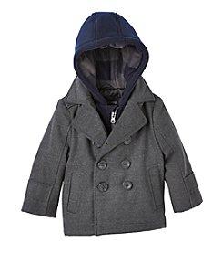 London Fog® Baby Boys Layered Hooded Peacoat