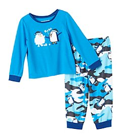 Komar Kids® Boys' 2T-4T 2-Piece Snowman & Penguin Pajama Set
