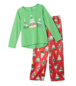 Komar Kids® Girls' 4-16 2-Piece Christmas Trees Pajama Set