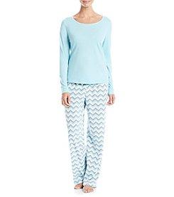 Relativity® Solid Top and Printed Pants Pajama Set