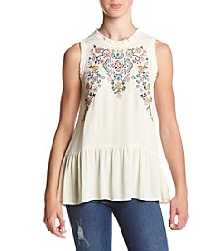 Eyeshadow® Embroidered Woven Tank Top