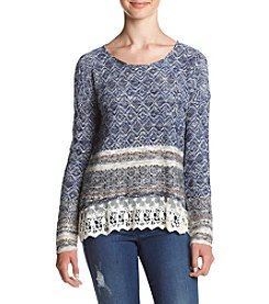 Jolt® Blanket Stripe Crochet Trim Hacci Sweater