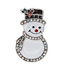 Studio Works® Silvertone Smiling Crystal Snowman Pin