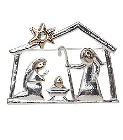 Studio Works® Two-Tone Polished Nativity Scene Pin